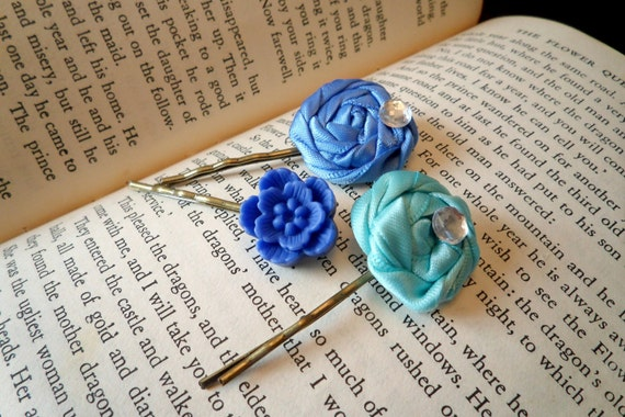 Blue Rose Bobby Pins
