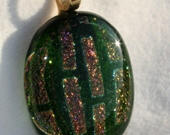 Fused Dichroic Glass Pendant - Green, Pink and Gold No. 0029