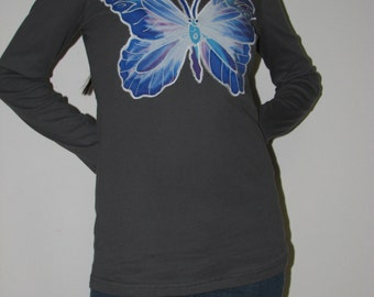 Blue Butterfly Hoodie Top - size medium