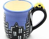 SALE City Skyline with Taxi Handmade Ceramic Coffee Mug