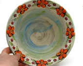 MOVING SALE 50% Off- Daisy Flower Serving Bowl Hand Thrown with Orange Lime and Turquoise accents
