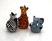 SALE miniature african animals zebra giraffe elephant