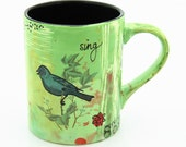 Artist Mug with Bird in Avacado and Turquoise