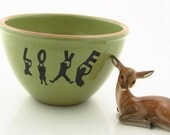 LOVE  wedding gift fruit bowl in pea green terra cotta