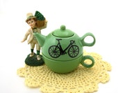 SALE Wee Bike Teapot Tea for one in Spring Green