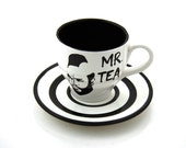 Mr.  T Tea Teacup and Saucer Black and White