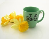 SALE Spring Green Bike Mug 50 percent off