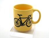 Bike mug bicycle mug large yellow, great gift for dad