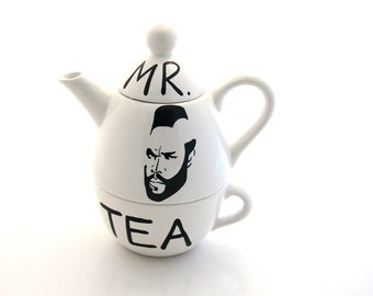 Mr. T  Tea Teapot, Tea For One,  By Lennymud on Etsy, available in white only