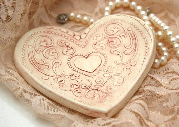 MOVING SALE 50% off- Lace Heart Ring Holder Trinket Dish