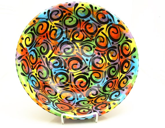 MOVING SALE 50% Off- Serving Bowl  Extra Large Wheelthrown pottery with Bright Colors and Swirls