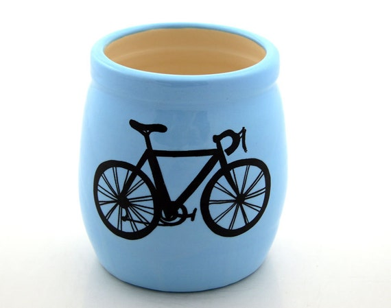 Bike Small Crock, Pencil Holder or Brush Cup in Turquoise Blue