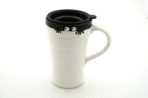 Funny Monster halloween Ceramic Travel Mug, Peeping eyes - large travel mug