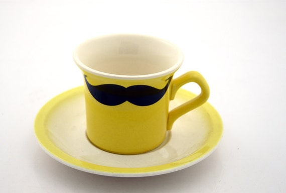 Mustache Moustache Teacup and Saucer Kiln Fired