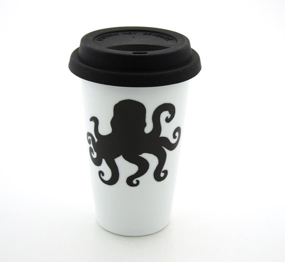 Octopus Travel Mug , personalized, Double Walled Porcelain, ceramic with Lid,  Kiln Fired