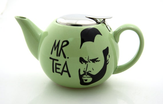 Mr T Tea Teapot Tea For One in soft green with strainer