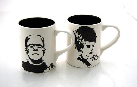 Mr and Mrs Mug Set Frankenstein and Bride  Black/White Funny Wedding Gift for couple
