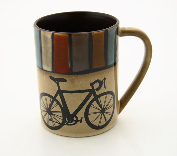 Large Bike Mug with Stripes can be personalized