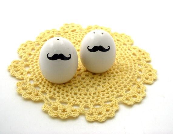 Mustache Moustache egg salt and pepper set