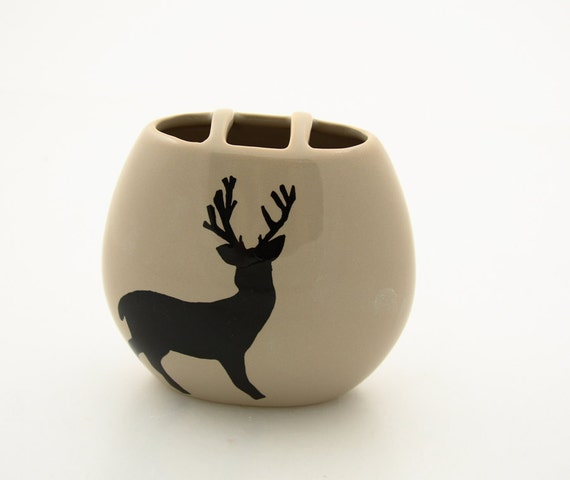 SALE Small vase with deer silhouette