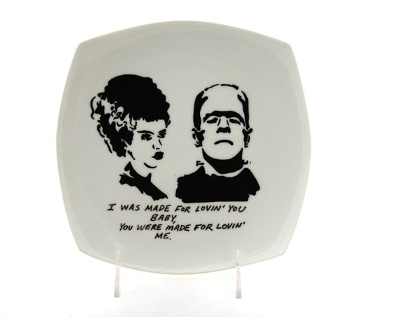 Wedding Bride Frankenstein Funny Gift or Ring Plate Alternative Goth Rock and Roll Kiss