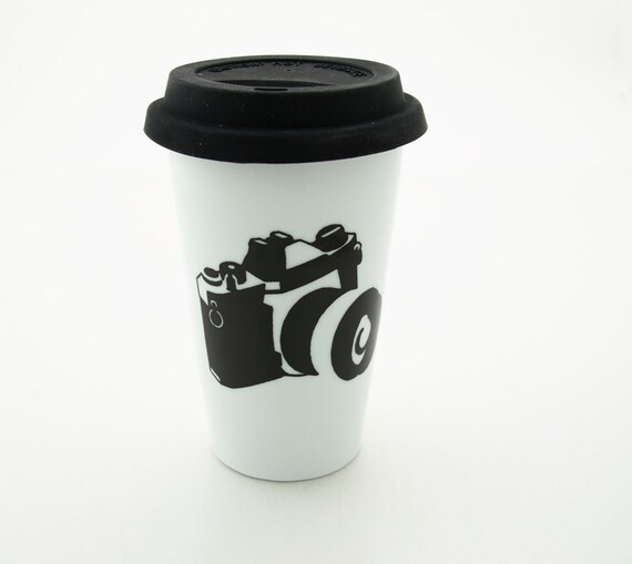 personalized Travel mug camera photographer gift  Double Walled Porcelain with Lid Eco Friendly