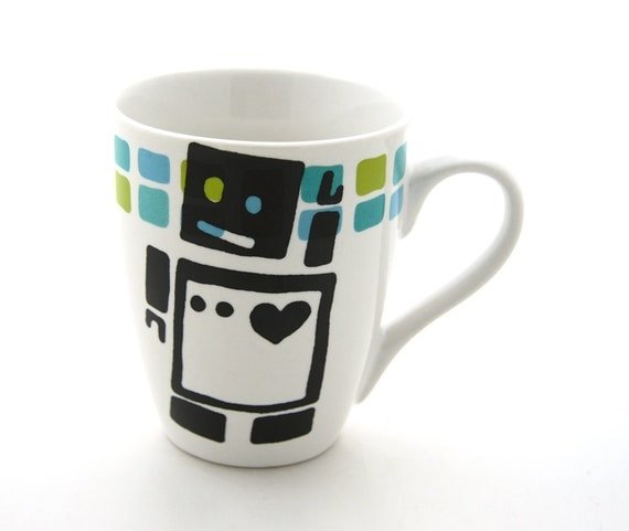 SALE Robot mug with blue and green squares