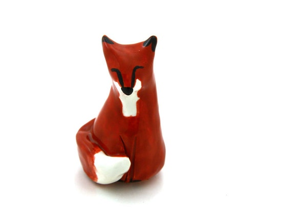 Fox miniature ceramic figurine