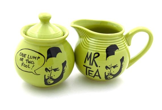 Sugar bowl creamer set Mr T Tea for teaset chartreuse green