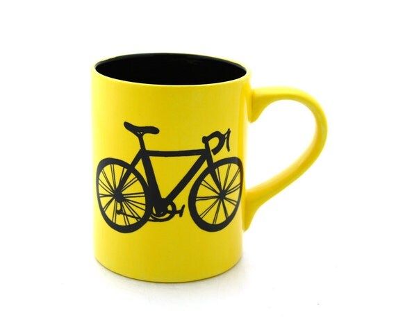 Bike Mug Bicycle Mug in Yellow Black Interior can be personalized