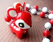 Kawaii Peppermint Red and White Deer Necklace