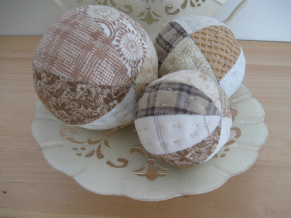 Bowl Fillers Quilted Simply Neutral Rustic Scrappy Patchwork Country Decor Farmhouse Decor