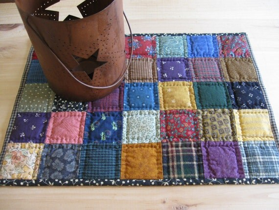 Miniature Quilt Quilted Table Mat Quilted Table Topper Primitive Rustic Home Decor Country Decor Farmhouse Decor