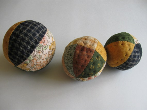 Quilted Ball  Bowl Fillers Rustic Country Home Decor Farmhouse Decor Colorful Scrappy Patchwork