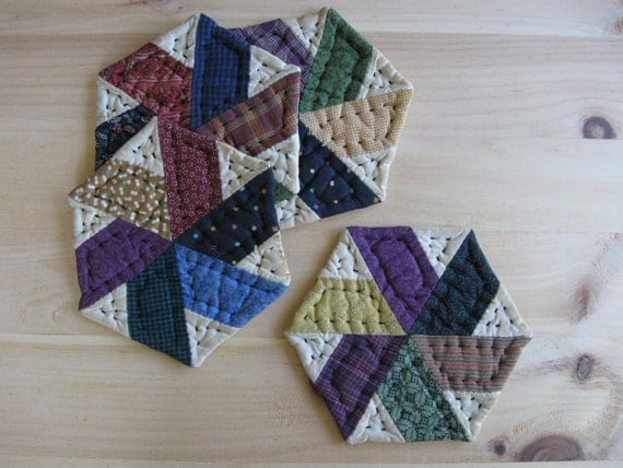 Hand Quilted Coasters Mug Mats Fabric Coasters Primitive Rustic Country Decor  Farmhouse Decor Kitchen Housewares Scrappy Star Patchwork
