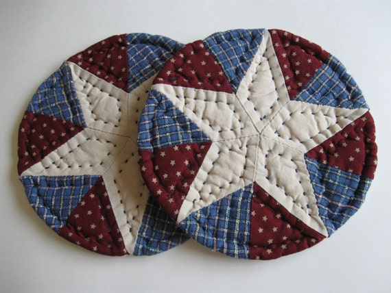 Americana Quilted Mug Mats Fabric Coasters Patriotic Rustic Farmhouse Decor Country Decor Kitchen Housewares