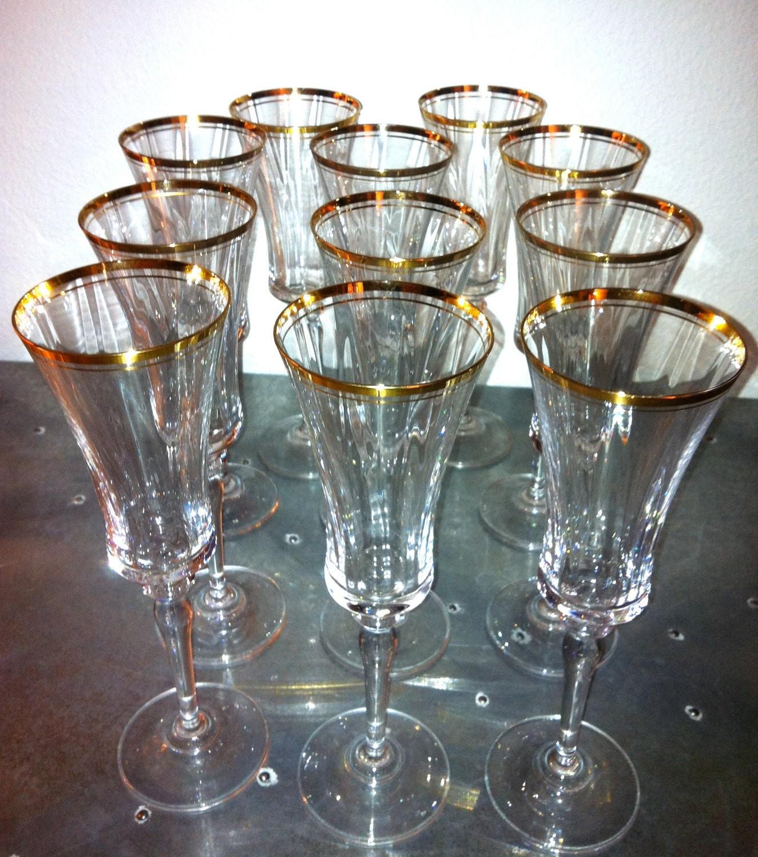Vintage Gold Rimmed Champagne Flutes Set of 11