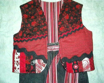 Upstyled Jeans in Black and Red w/ matching Vest--Girls Size 6