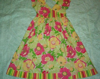 CLEARANCE SALE Dress with Appliqued Flowers-- Girls Size 7-8