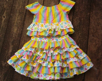 Girls Tiered Ruffled Skirt and Top   Size 5