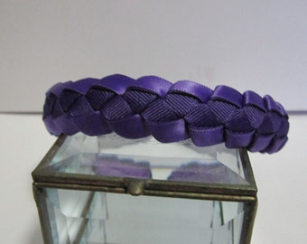 Girls Woven Ribbon Headband in Royal Purple