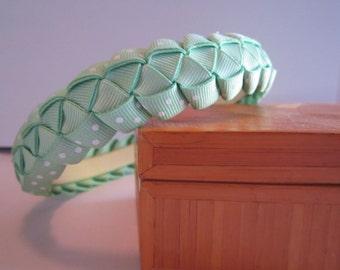 Girls Woven Ribbon Headband in Mint Green