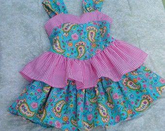 Girls Sundress in Aqua and Pink SIZE  4 to 6
