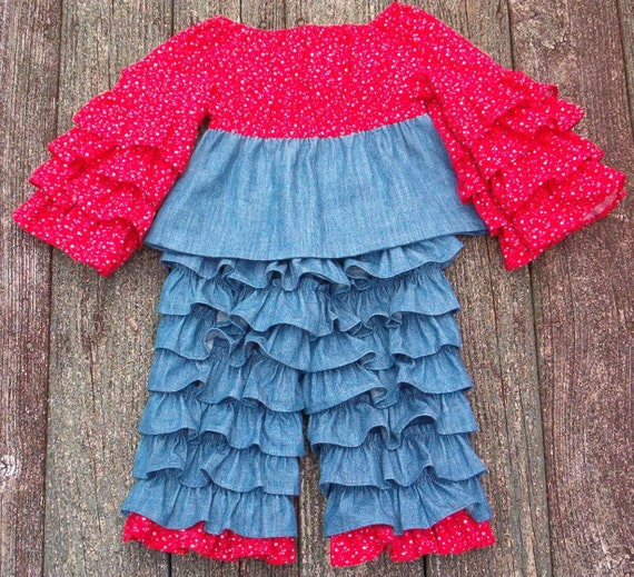 Girls Ruffle Back Pants and Ruffle Sleeve Top SIZE 3 to 4