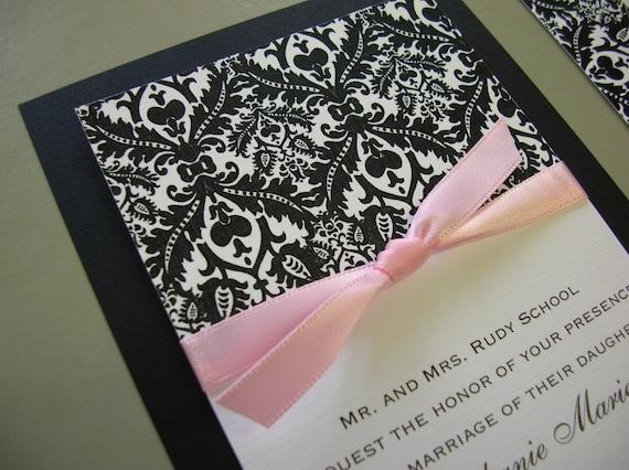 Black Pink Wedding Invitations: Royal Damask Black White And Light Pink Damask Wedding
