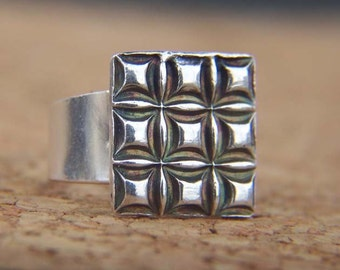 Oxidized Sterling Silver Square Ring