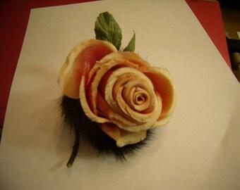 Vintage Silk Rose \/ Mink Flower Pin