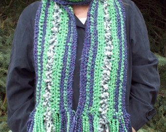 Crocheted Scarf Bold Bright Fun and Funky OOAK art to wear