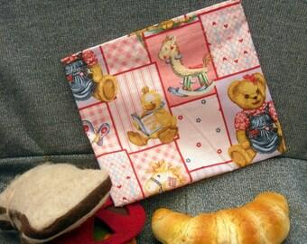 Reusable Sandwich Bag, Teddy Bear Pink Design