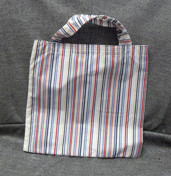 Commuter Lunch  N Gift Bag, Reds N Blues Stripes Print